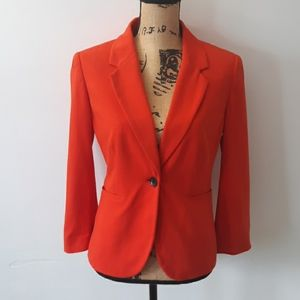 The Limited Red 3/4 Sleeve Blazer Jacket Size M